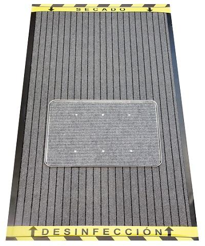 ALFOMBRA DESINFECTANTE DE CALZADO GRIS/GRIS 90 X 150 CM.+ REGALO 1 LITRO DESINFECTANTE DECLORNET