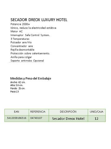 SECADOR CABELLO LUXURY HOTEL 2000W