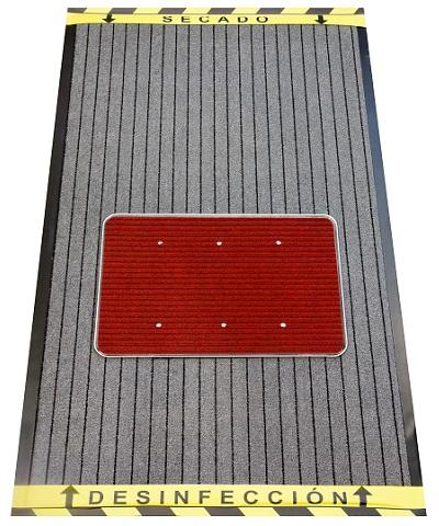 ALFOMBRA DESINFECTANTE DE CALZADO GRIS  /ROJA 90 X 150 CM.